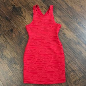 Wet Seal Red Wave Texture Bodycon Mini Dress